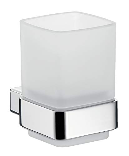 Emco Loft Glashalter, Badzubehör, Kristallglas satiniert/chrom, Zahnbürstenhalter, Badaccessoires, 52000100