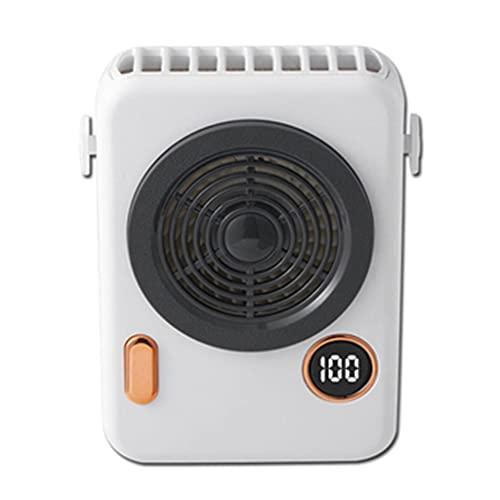USB Ventilador De Banda para El Cuello,con Pantalla LED, Ventilador Manos Libres Portátil,Mini Ventilador PersonalCon, Adecuado para Viajes, Barbacoa Al Aire Libre (Color : Blanco, Size : 12.5 * 9cm)