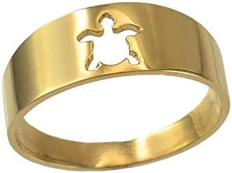Sea Turtle Cut Out Ring Band Gold Yellow In High material Polished Max 63% OFF 10K