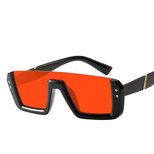 Zonnebril, gepersonaliseerde oranje vierkante lens zwart kunststof frame unisex platte glazen UV-bescherming 400 UV, geschikt voor paardrijden/fietsen/hardlopen/skiën/vissen/licht - lange levensduur