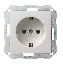 GIRA System 55 Standard E2, Reinweiß glänzend, Steckdose Schalter Rahmen Wippe (018803 Steckdose, 1 Stück)