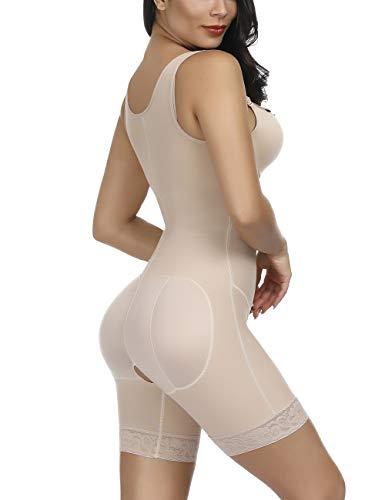 FeelinGirl Mujer Faja Reductora con Cinta Ajustable Corsé Bustier Ajustable Cremallera Shapewear Corset Waist Trainer