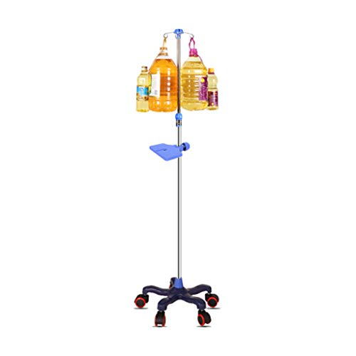 WANGF Porta Sueros de Infusion con Ruedas IV Poles Stand 4 Hook Optional 5 Caster Stainless Steel Infusion Stand Adjustable Height 110cm-190cm Drive Medical Removable