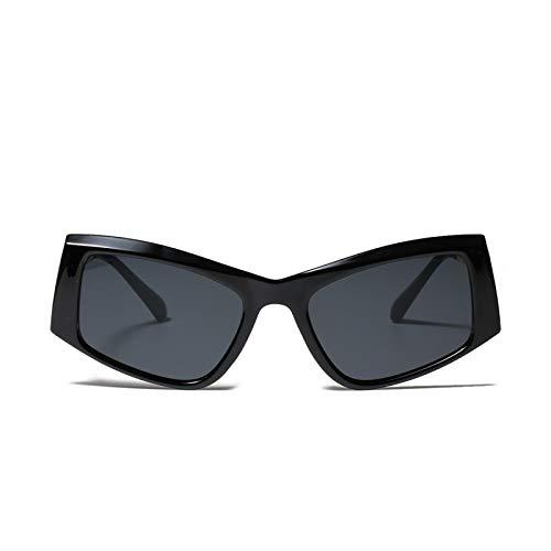 JINZUN Gafas de Sol cuadradas Semi-metálicas voladoras, Tendencia de Moda, Gafas de Sol, protección UV al Aire Libre, Hombres y Mujeres, Negro Brillante