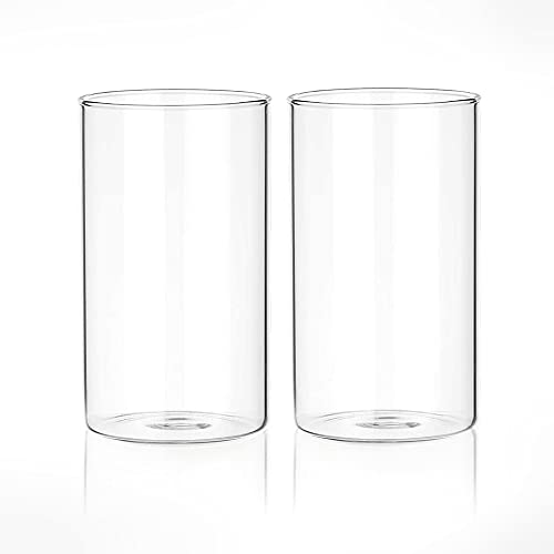 Tuuters.de 2er Set Windlichtgläser für Drinnen und Draußen | Aus Borosilikat-Glas ✓ Ideal zum Verzieren ✓ (120 x Ø 70 mm, Mit Boden)
