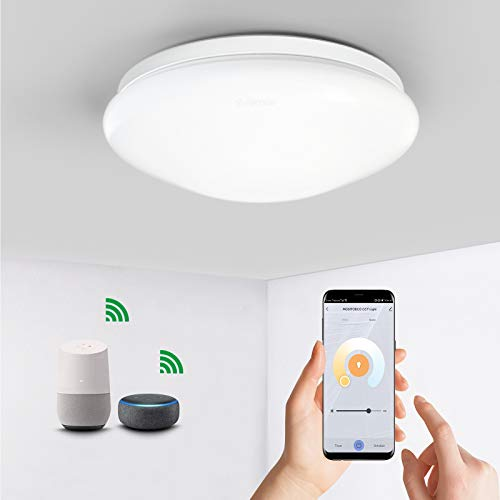Anten Lámpara de techo WiFi LED regulable, 1920 lm, temperatura de color 3000K ~ 6500K, 27 cm de diámetro, lámpara de techo inteligente compatible con Alexa, Google Home, aplicación y control por voz