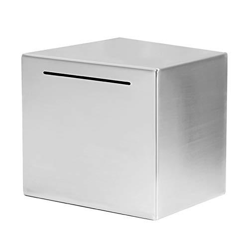 PPuujia Hucha segura hecha de acero inoxidable, caja de ahorro de dinero para niños, lata (color: L)
