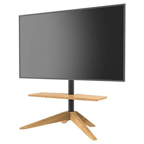 Cavus CROSS Design Tv Vloerstandaard - Massief Eikenhout Tv Meubel geschikt voor 32-65 Inch televisies - 120° draaibare televisiestandaard - max 30Kg - (VESA 300X200)