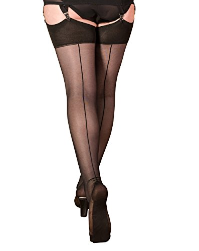 What Katie Did Seamed Stockings 40 Denier Black (Small/Med 5ft 1 To 5ft 7 (110-145lbs), Black)