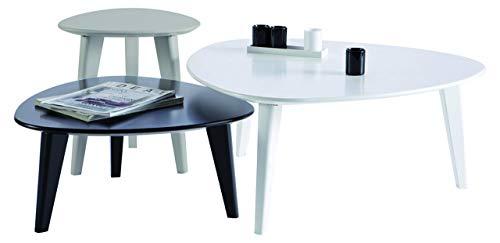 Demeyere 107118 Set de 3 Tables Basses Blanc/Gris/Noir