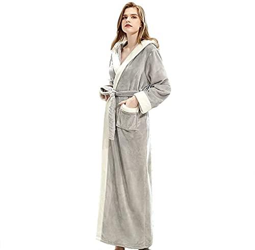Pijamas para mujer, camisón con capucha, otoño e invierno, albornoz largo con cinturón de encaje, gris, M