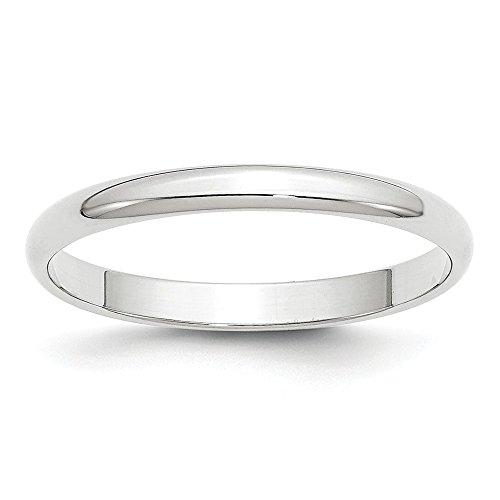 Diamond2Deal - Alianza Media Redonda para Mujer, Oro Blanco de 10 Quilates, 2,5 mm, Talla 14