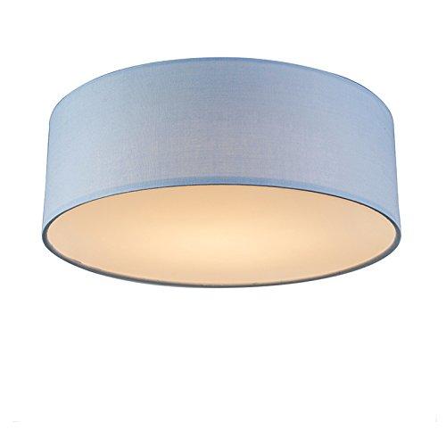 QAZQA Modern Deckenleuchte/Deckenlampe/Lampe/Leuchte blau 30 cm inkl. LED - Drum mit Schirm LED/Innenbeleuchtung/Wohnzimmerlampe/Schlafzimmer/Küche Metall/Textil Rund / (nicht austausch