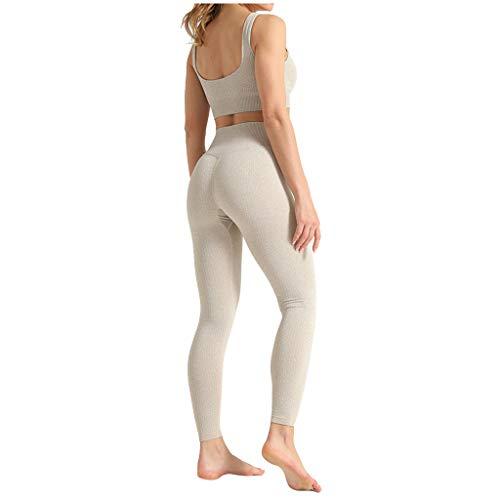 Damen Yoga Trainingsanzüge Sport Shirt Langarm Trainingshose Set Yoga Hosen Leggings Tights Shape Stretch Sporthose für Workout Gym Joggen Trainings Fitness Laufen Hosen riou Günstig (B-Beige, S)