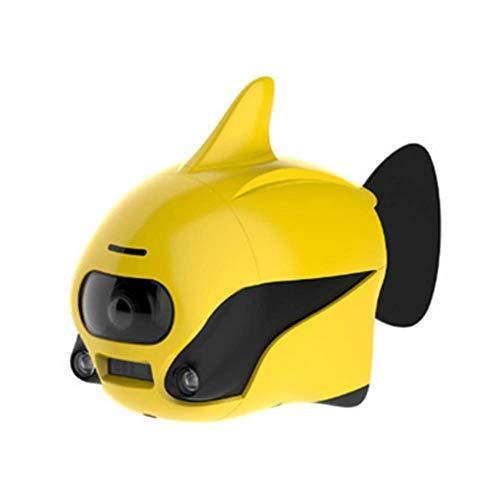AHELT-J Drone Submarino Robot de Peces Pequeños Sumergible Inalámbrico Mando a Distancia para Drone con Cámara 4K HD, Conexión WiFi Bionic Diseño Peces Robot Mascota en Piscinas y Lagos,Amarillo