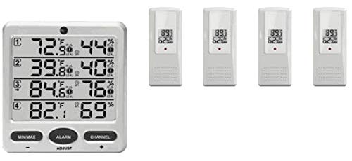 Ambient Weather WS-10-X4 Wireless Indoor/Outdoor 8-Channel Thermo-Hygrometer with Four Remote Sensors