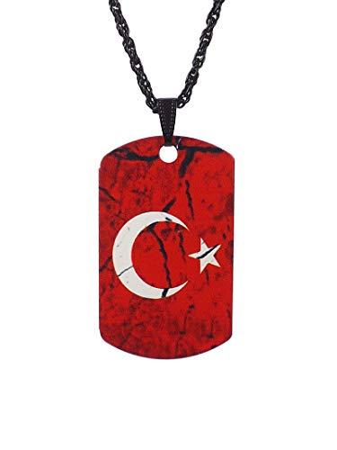 Gök-Türk Halskette Künye für Herren Unisex mit Anhänger Ay Yildiz Halbmond mit Stern Türkische Flagge Türkei Türkiye - rot