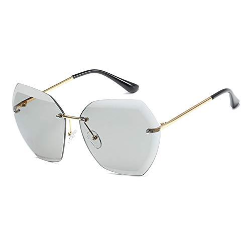 SXRAI Mode Übergroße Sonnenbrillen Damen Sonnenbrille Randlose Farblinsen Damenbrille Uv400 Brille,C1