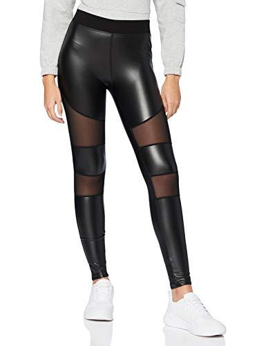 Urban Classics Damen Ladies Tech Mesh Faux Leather Leggings, Black, S