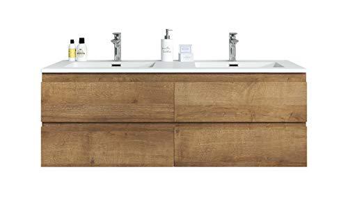 Badezimmer Badmöbel Set Angela 140cm Eiche (F.Oak) - Unterschrank Schrank Waschbecken Waschtisch