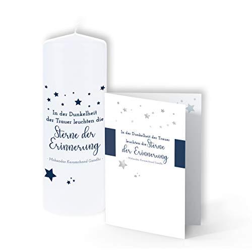 TrostGeschenke - Trauerkerze & passende Trauerkarte -'In der Dunkelheit der Trauer'