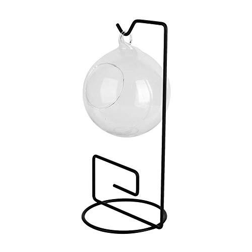 Cikonielf Colgante pecera Mesa Acuario Bola Colgante terrario Vidrio Transparente Mini pecera florero Botella de Planta con Soporte de Metal(Estantería Cuadrada de Hierro)