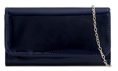Girly Handbags liso brillante del bolso de embrague - Azul Marino