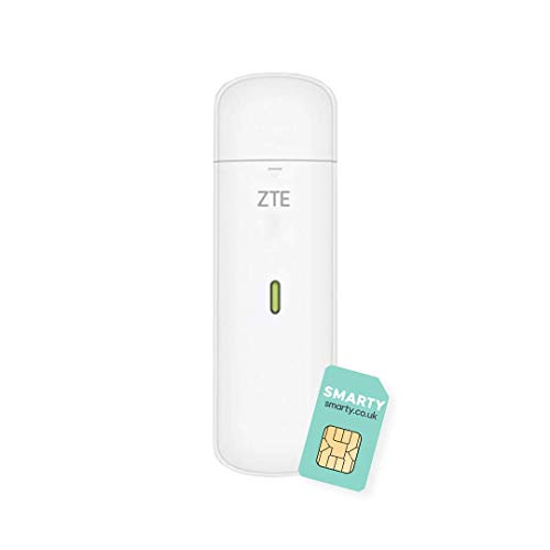 ZTE MF833U1, CAT4/4G USB Dongle, Unlocked Low Cost Travel WiFi, 150mbps, Multi Band Configuration, with FREE SMARTY SIM Card- White