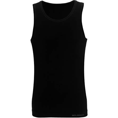 BRUBECK Herren Tanktop   T-Shirt ärmellos atmungsaktiv   Mens Tank Top Seamless Cotton   Oberteil ohne Arm   Achseltop   Achselhemd Alltag   Gr. M, schwarz   55% Baumwolle  ...