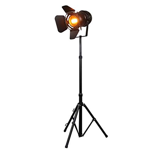 DXXWANG Floor Lamp Reading Decorative Lights,Industrial Retro Black Searchlight Height Adjustable Closable Shade Rotatable