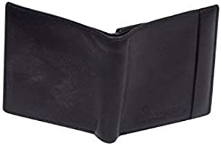 Genuine Leather Compact Bifold Mens Wallet Black Credit Card Case Slim Purse