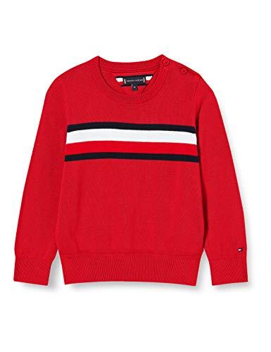 Tommy Hilfiger Jungen Essential Th Warm Sweater Pullover, Deep Crimson, 86