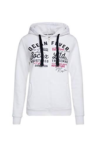 Soccx Damen Hoodie-Jacket mit Glitter Artwork, Opticwhite, L