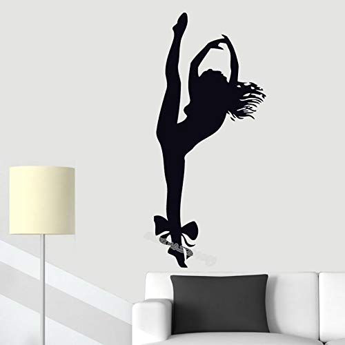 Blrpbc Adhesivos Pared Pegatinas de Pared Chica Bailarina Gimnasta Gimnasia decoración de Gimnasio murales de Arte decoración de Fondo del hogar calcomanías de Sala de Estar 76x170cm