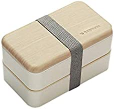 WZHZJ Multi-Functional Creative Microwave Lunch Box Japanese Wood Bento Box 2 Layer Container Storage Portable Kitchen Dur...