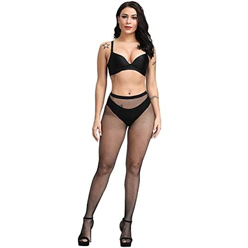 IAMZHL 4 pares de medias de mujer medias de cintura alta medias de rejilla sexy medias de tubo hasta el muslo pantimedias - Negro-Agujero pequeño, L
