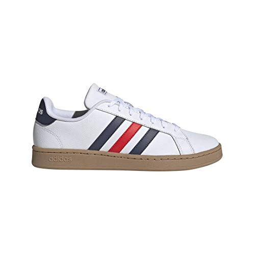 adidas Men's Grand Court Sneaker, White/Trace blue/active Red, 10.5 M US