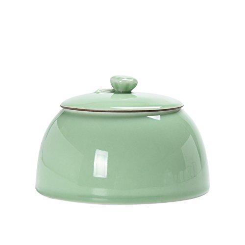 Vaso di porcellana,Canister de thé,Coffres de stockage de thé,Service à thé Réservoir d'étanchéité en céramique fond plat-A 4x6inch