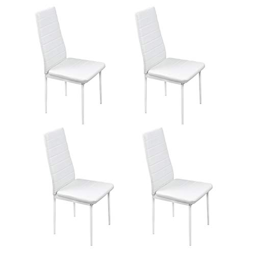 Noorsk Design Pack de Cuatro sillas de Comedor o Cocina Clasik (Blanco)