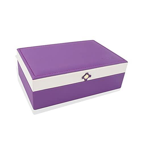 Almacenamiento de joyas Oganizer Caja de organizador de joyería, hebilla magnética de flor cruzada simple capa simple PU Caja de acabado de joyas de anillo de cuero Cierre magnético Para niñas y regal
