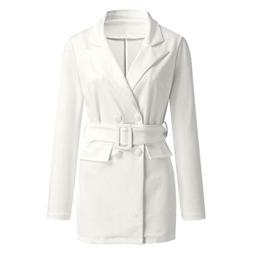 Kaiki Damen Elegant Reverskragen Tasche Arbeit Büro Mantel Kleid Lässige Tailliert Arbeit Zweireiher Blazer Anzug mit Gürtel (2XL, Weiß)