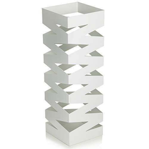 Baroni Home Portaombrelli Design Moderno Porta Ombrelli in Metallo con Intaglio Geometrico Bianco con Gancino e Vaschetta Scolapioggia Rimovibile 18X18X55 cm