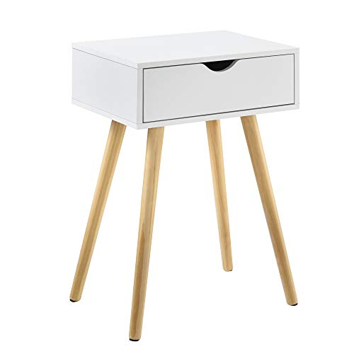 [en.casa] Mesa Auxiliar con un Cajón 60 x 40 x 29,5 cm Mesilla de Noche Mesita Cómoda Diseño Blanco