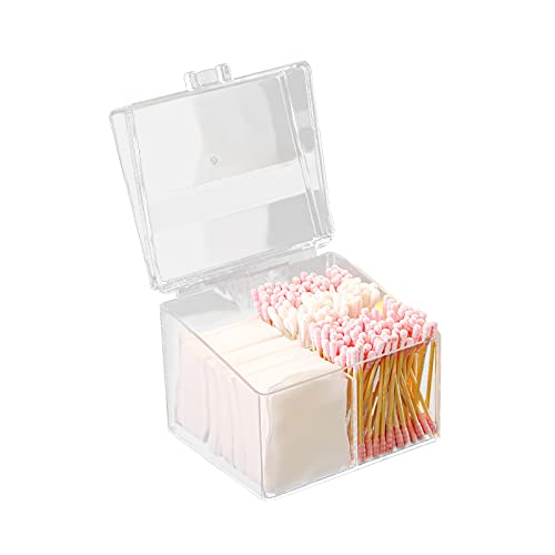 Hwtcjx dispensador discos algodon, 1 dispensador discos desmaquillantes, Hecho de material PS, con cubierta, duradero, a prueba de polvo, para sala de estar dormitorio baño (12 x 10 x 9,5cm, estilo A)