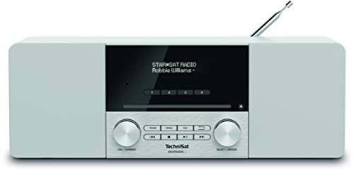 TechniSat DIGITRADIO 3 - Stereo DAB Radio Kompaktanlage (DAB+, UKW, CD-Player, Bluetooth, USB, Kopfhöreranschluss, AUX-Eingang, Radiowecker, OLED Display, 20 Watt RMS) weiß