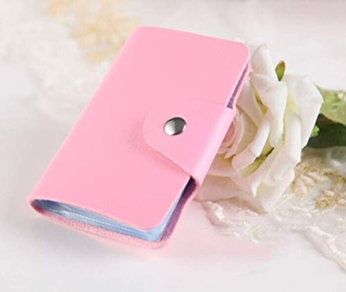 XMYZ 1pc PU Function 24 Bits Credit Card Holder Solid Color Card Case Business Card Organizer Portable Men Women Wallets Supplies,pink