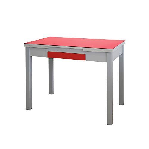 MOMMA HOME Mesa Extensible - Modelo Tetra - Color Rojo/Plata - Material Cristal Templado/MDF - Medidas 100/160 x 60 x 77 cm