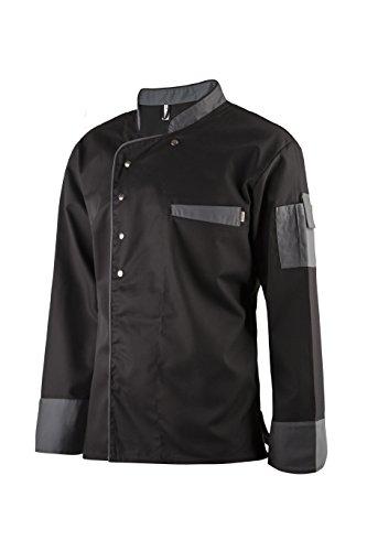 Clinotest Kochjacke, Bäckerjacke, Langarm mit Druckknopfverschluss, in der Farbe Black, Modern Style (XS)