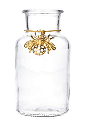 Gisela Graham Mini jarrón de Cristal con Colgante de Abeja Dorado, Talla única