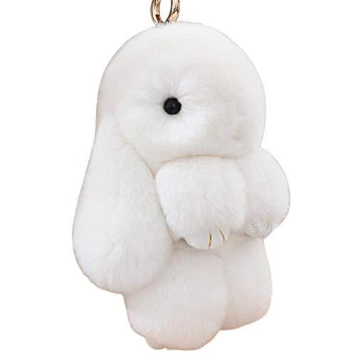 XIAOMING Porte-clés lapin mignon, Porte-clés lapin en peluche, ornements en peluche pour voiture/sac à main, pendentif lapin, décoration cadeau de Pâques, 14cm/5.5in (White)